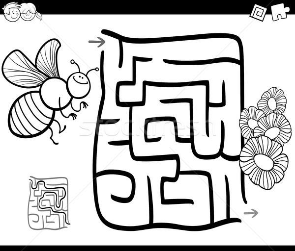 maze with bee coloring page Stock photo © izakowski