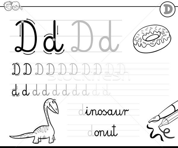 узнать написать буква d рабочая тетрадь дети черно белые Сток-фото © izakowski