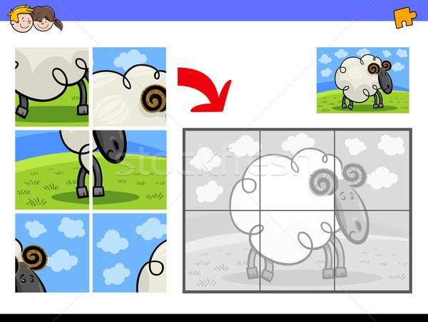Puzzle Widder Tier Zeichen Karikatur Illustration Stock foto © izakowski
