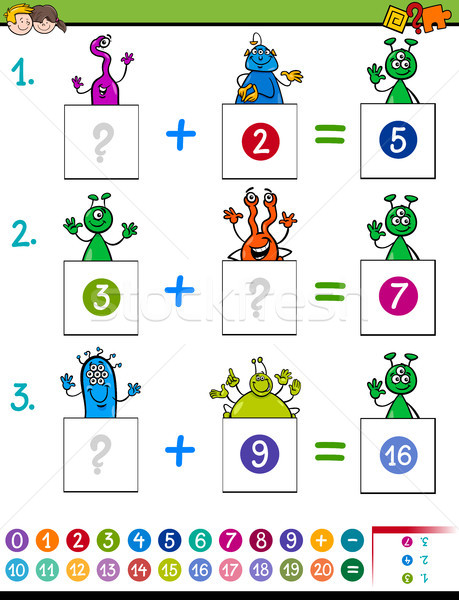 maths addition educational game with aliens Stock photo © izakowski