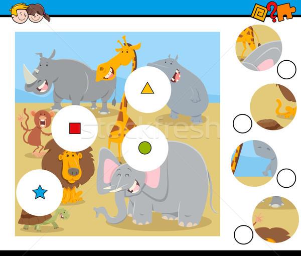 Wedstrijd stukken puzzel dier cartoon Stockfoto © izakowski