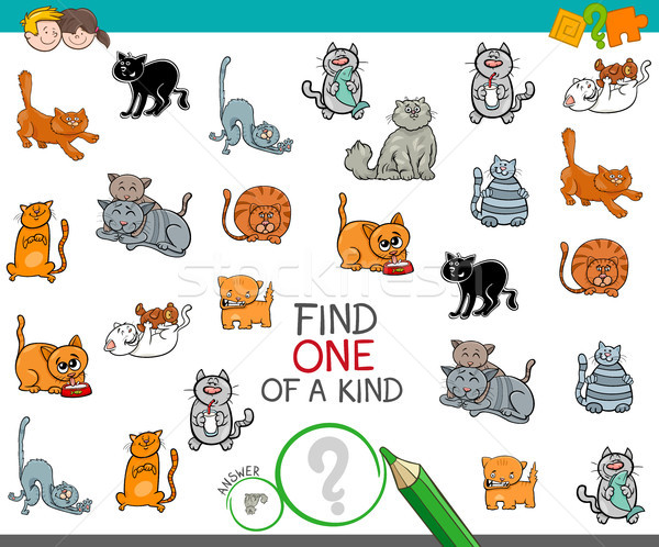 find one of a kind picture with cat character Stock photo © izakowski