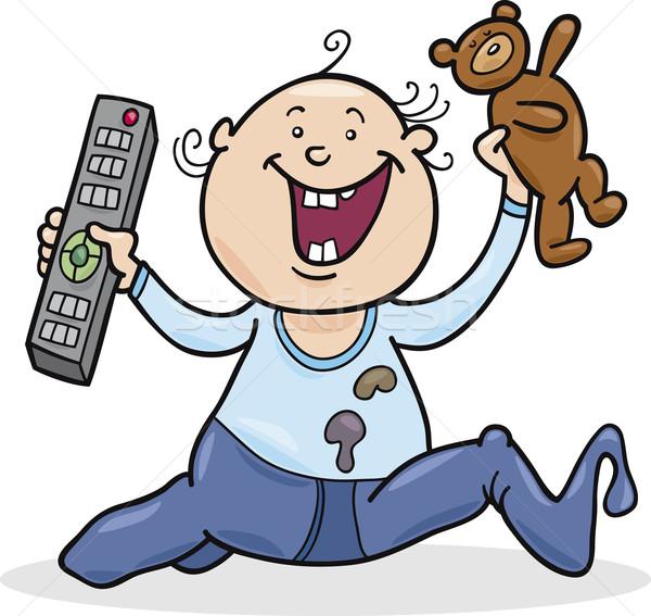 boy with remote control and teddy bear Stock photo © izakowski