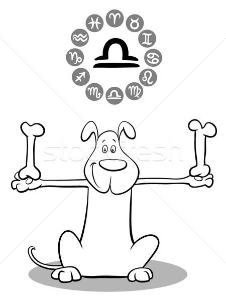 cartoon dog as Libra Zodiac sign Stock photo © izakowski