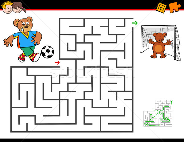 cartoon maze activity with bear playing soccer Stock photo © izakowski