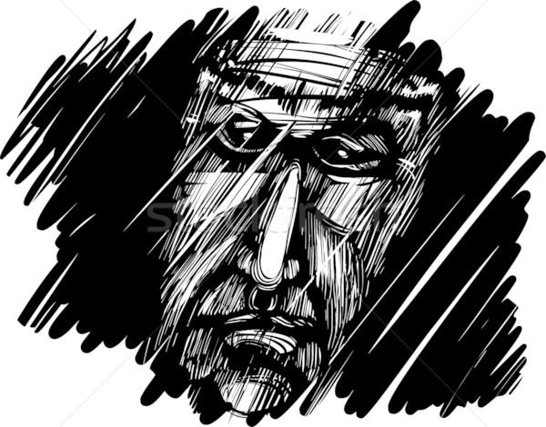 Idős férfi arc sötétség rajz rajz illusztráció Stock fotó © izakowski