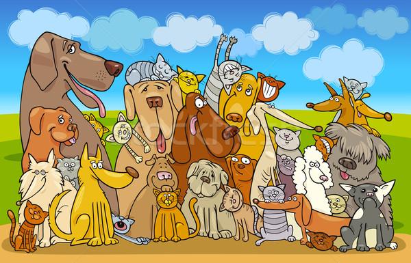 Group of Cats and Dogs Stock photo © izakowski