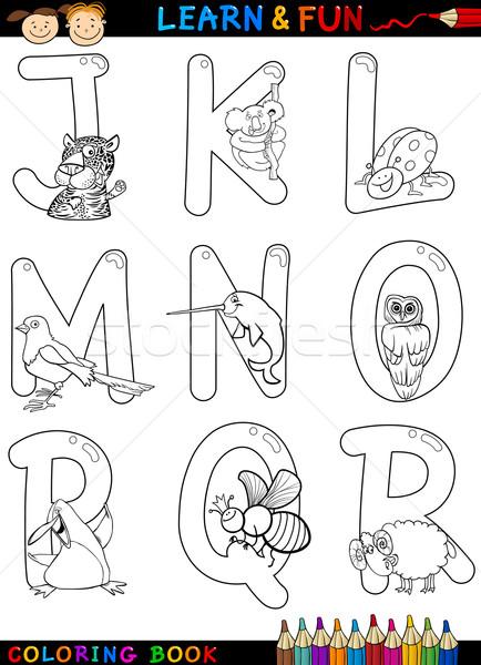 Karikatür Alfabe Hayvanlar Boyama Kitabı Sayfa Ayarlamak