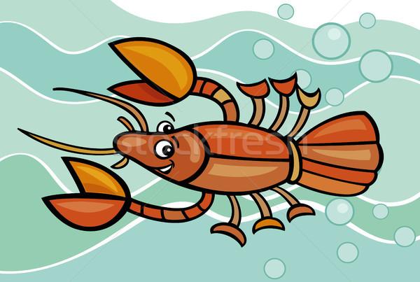 happy crayfish cartoon illustration Stock photo © izakowski