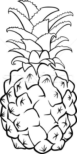 Ananas Meyve Boyama Kitabı Siyah Beyaz Karikatür örnek