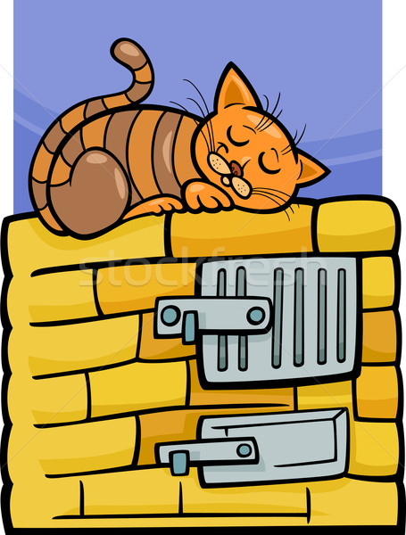 cat on stove cartoon illustration Stock photo © izakowski