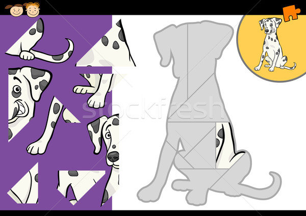 cartoon dalmatian dog puzzle game Stock photo © izakowski