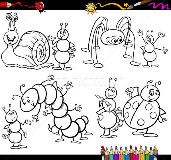 Vicces rovarok szett kifestőkönyv oldal rajz Stock fotó © izakowski
