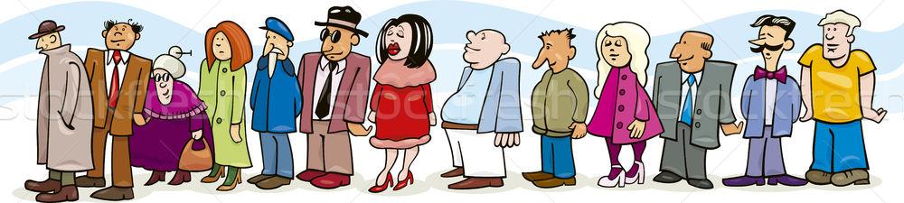 Pessoas fila ilustração mulher menina cara Foto stock © izakowski