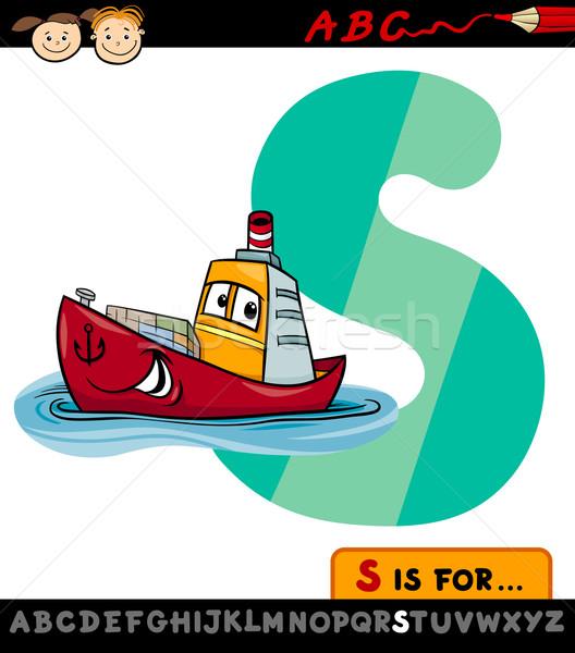 letter s with ship cartoon illustration Stock photo © izakowski