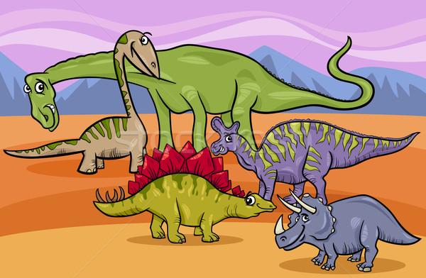 dinosaurs group cartoon illustration Stock photo © izakowski