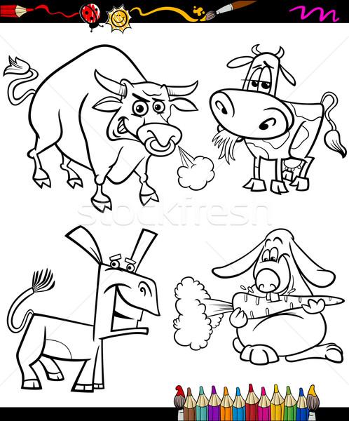 farm animals set cartoon coloring book Stock photo © izakowski