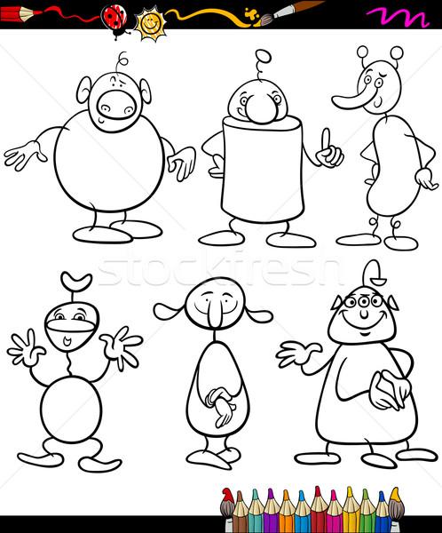 aliens set cartoon coloring book Stock photo © izakowski