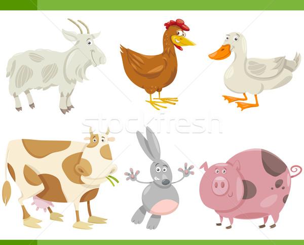 farm animals cartoon set illustration Stock photo © izakowski