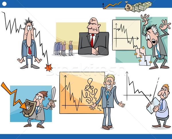 business cartoon crisis concepts set Stock photo © izakowski