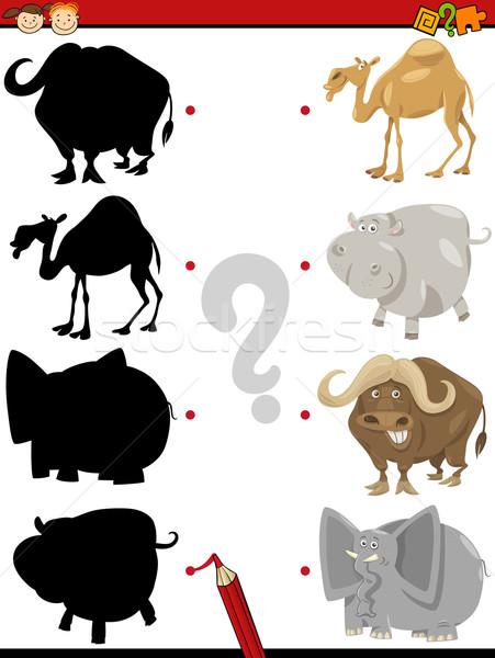 óvoda árnyék feladat állatok rajz illusztráció Stock fotó © izakowski