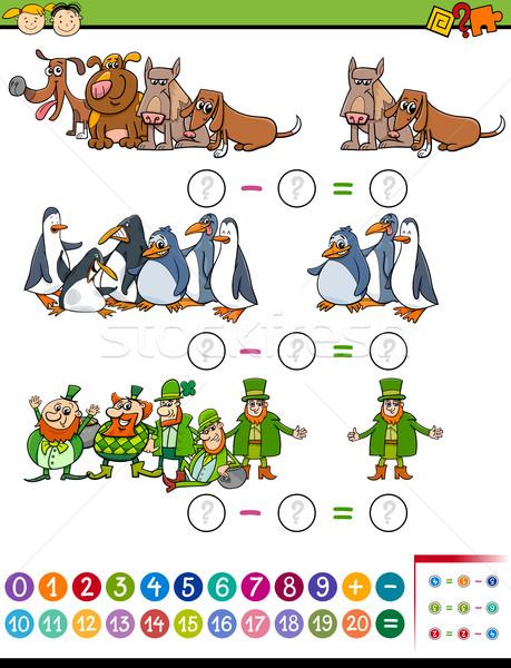 Matematyki zadanie dzieci cartoon ilustracja Zdjęcia stock © izakowski
