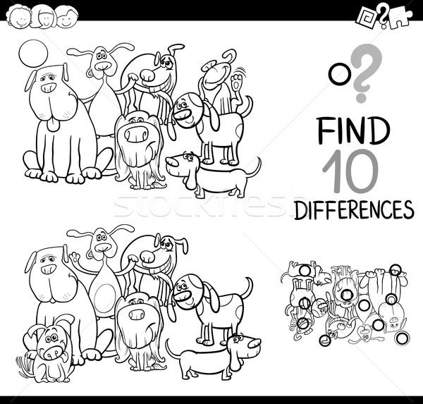 Jeu différences chiens blanc noir cartoon illustration Photo stock © izakowski