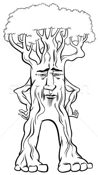 árbol criatura página blanco negro Cartoon ilustración Foto stock © izakowski