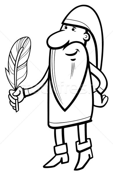 Cüce karakter sayfa siyah beyaz karikatür örnek Stok fotoğraf © izakowski