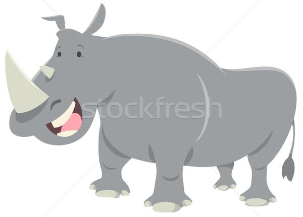 носорог животного характер Cartoon иллюстрация Cute Сток-фото © izakowski