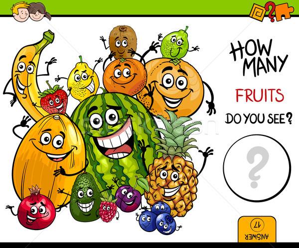 Frutas educativo juego Cartoon ilustración actividad Foto stock © izakowski