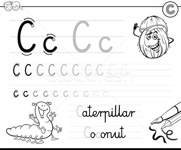 learn to write letter C workbook for kids Stock photo © izakowski
