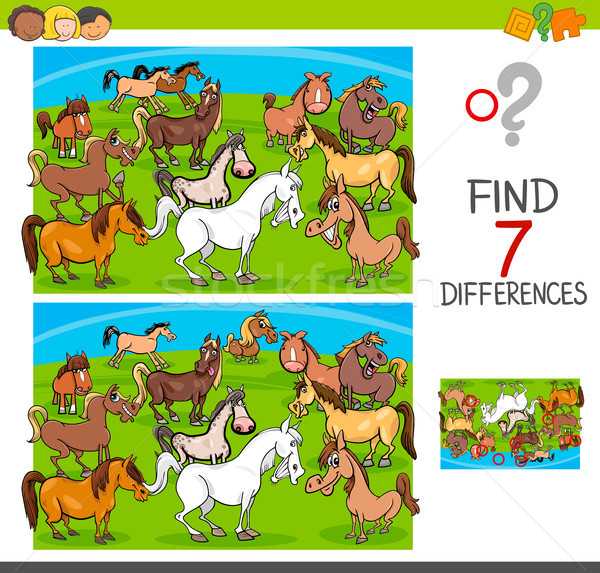find differences game with horses animal characters Stock photo © izakowski