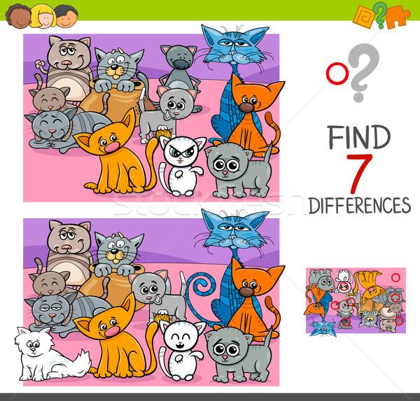 Encontrar diferenças jogo gatos animal Foto stock © izakowski