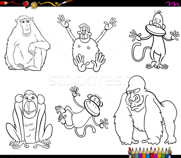 set of monkeys animal characters color book Stock photo © izakowski