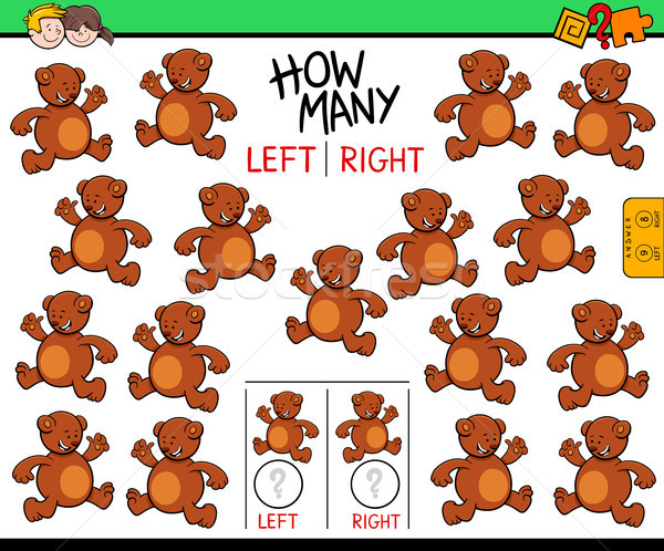 counting left and right picture of bear educational game Stock photo © izakowski