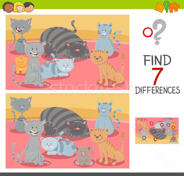 Vinden verschillen spel kat cartoon Stockfoto © izakowski