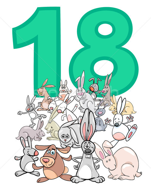 number eighteen and cartoon rabbits group Stock photo © izakowski