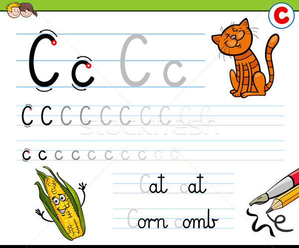 how to write letter C workbook for children Stock photo © izakowski