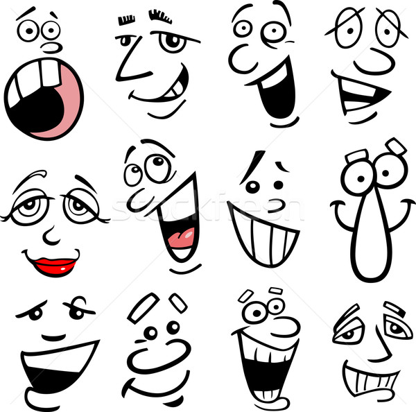 Cartoon emoties illustratie gezichten humor Stockfoto © izakowski