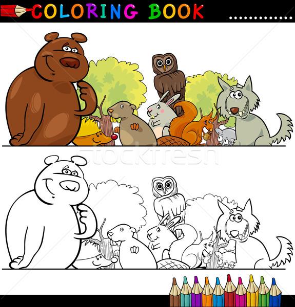 Vahşi Hayvanlar Boyama Kitabı Sayfa Karikatür örnek