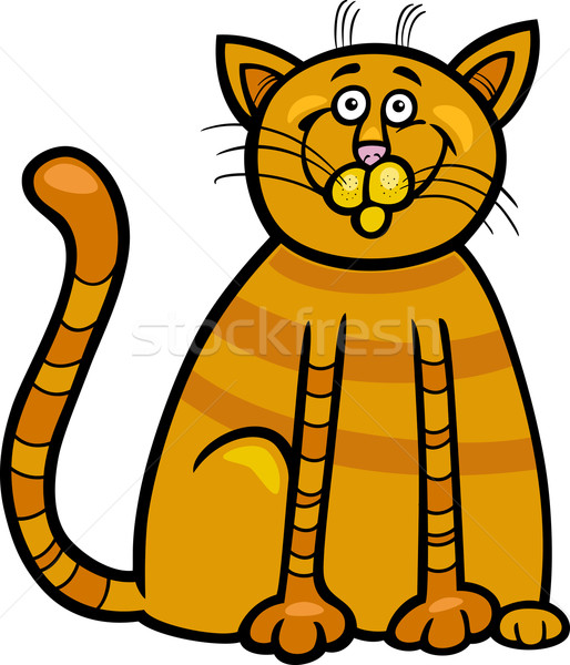happy cat cartoon illustration Stock photo © izakowski