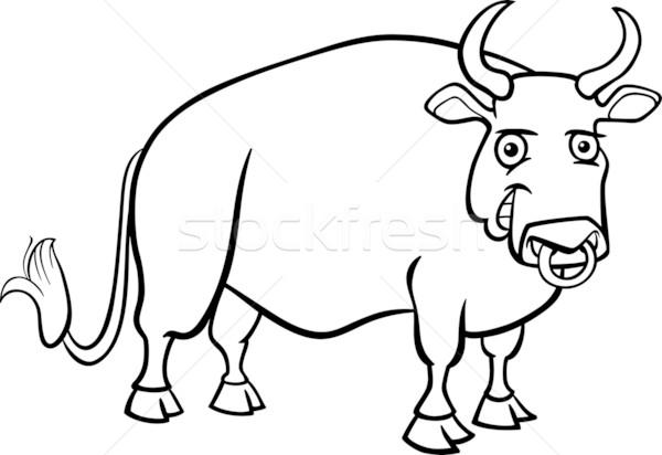 farm bull cartoon for coloring book Stock photo © izakowski