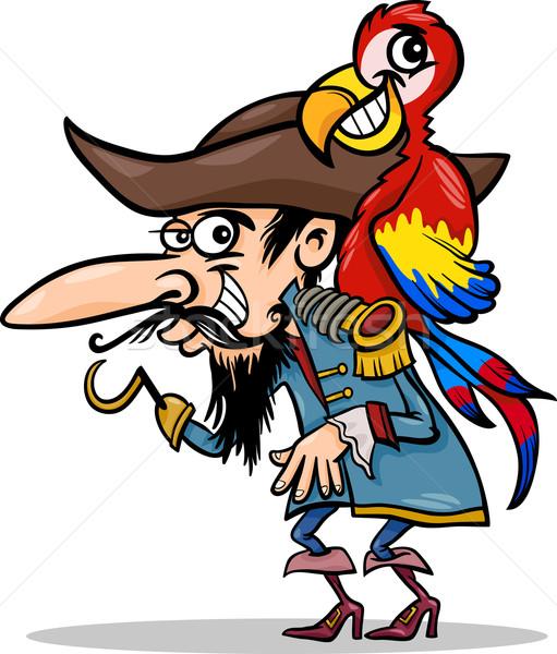 pirate with parrot cartoon illustration Stock photo © izakowski