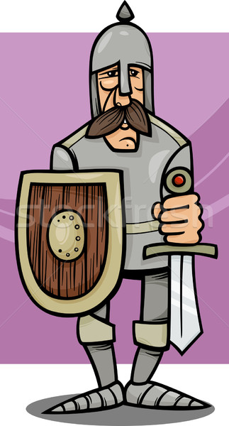 Ridder pantser cartoon illustratie grappig zwaard Stockfoto © izakowski