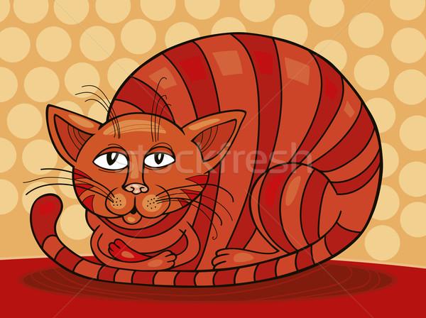 álmos piros macska művészet grafikus rajz Stock fotó © izakowski