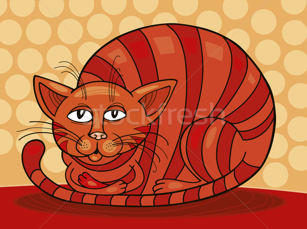 Somnolent rouge chat art graphique cartoon Photo stock © izakowski