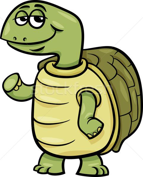 Teknős karakter rajz illusztráció vicces boldog Stock fotó © izakowski