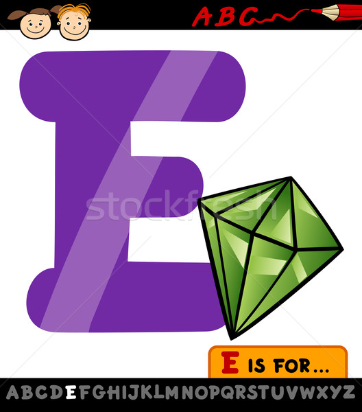 letter e with emerald cartoon illustration Stock photo © izakowski
