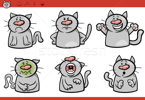 cat emotions cartoon illustration set Stock photo © izakowski